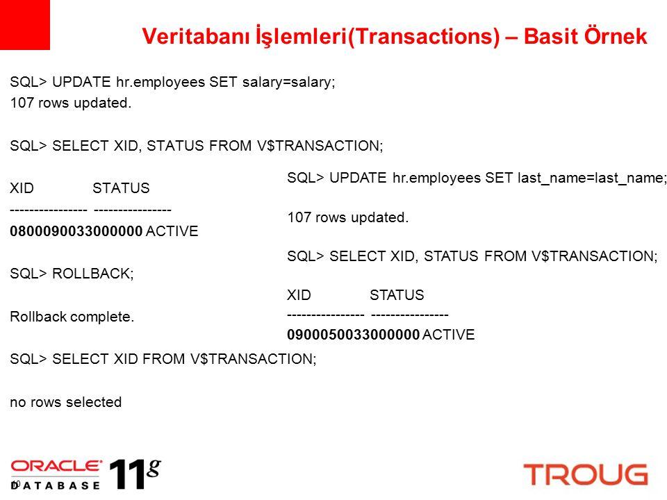 Veritabanı İşlemleri(Transactions) – Basit Örnek