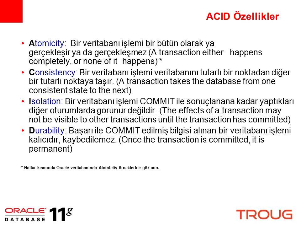 ACID Özellikler