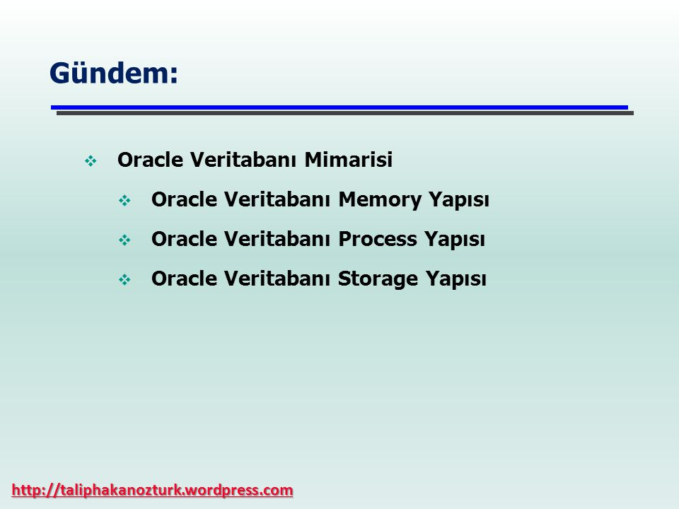Gündem: Oracle Veritabanı Mimarisi Oracle Veritabanı Memory Yapısı