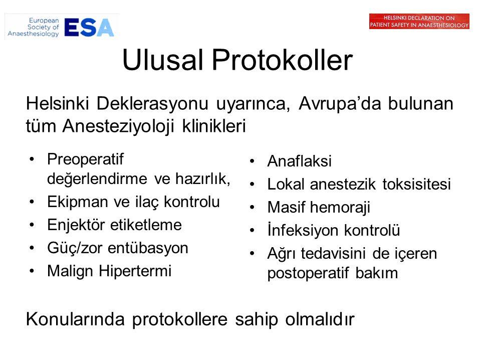 Ulusal Protokoller Helsinki Deklerasyonu uyarınca, Avrupa'da bulunan tüm Anesteziyoloji klinikleri.