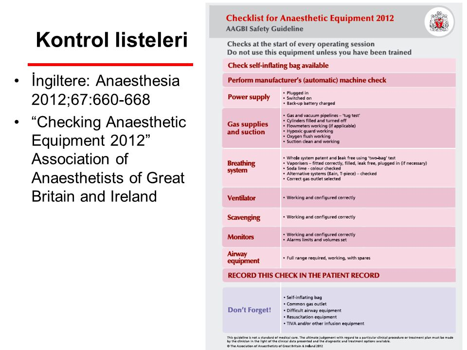 Kontrol listeleri İngiltere: Anaesthesia 2012;67:660-668