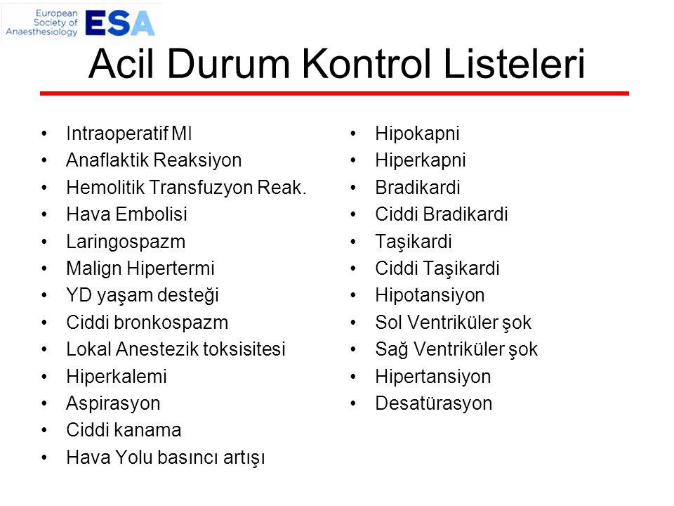 Acil Durum Kontrol Listeleri