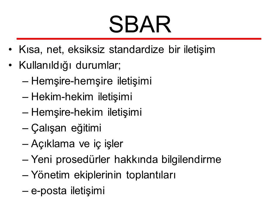 SBAR Kısa, net, eksiksiz standardize bir iletişim