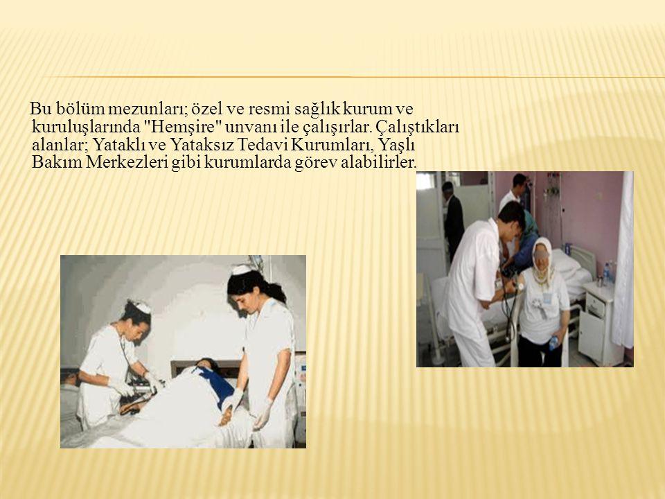 Bu bölüm mezunları; özel ve resmi sağlık kurum ve kuruluşlarında Hemşire unvanı ile çalışırlar.