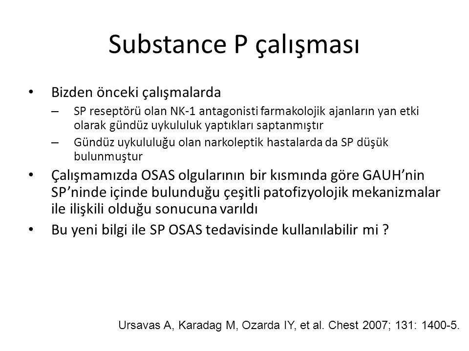 Substance P çalışması Bizden önceki çalışmalarda