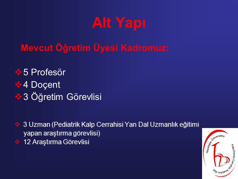 Alt Yapı 5 Profesör 4 Doçent 3 Öğretim Görevlisi