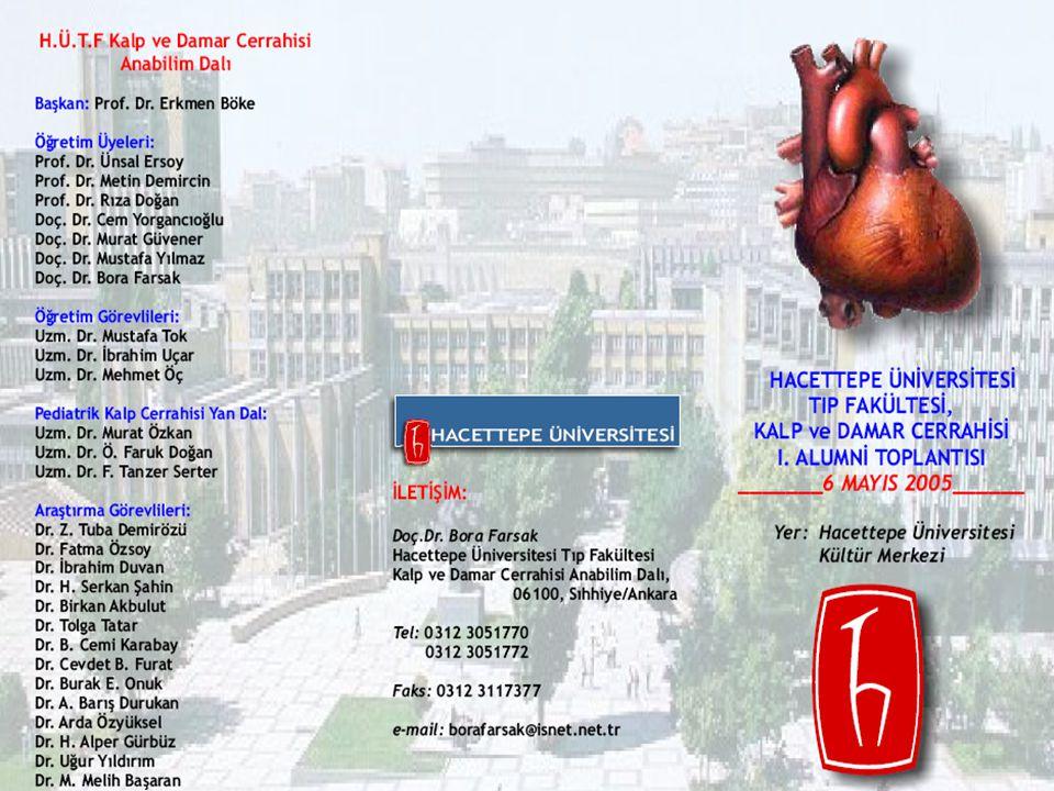 6 Mayıs 2005 tarihinde merkez kampüsümüzde Hacettepe Üniversitesi Tip Fakültesi Kalp Damar Cerrahisi Anabilim Dalı 1.Alumni Toplantısı organize edilmiştir.