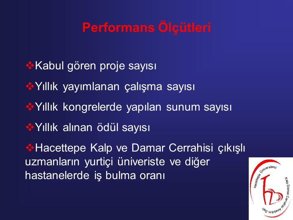 Performans Ölçütleri Kabul gören proje sayısı