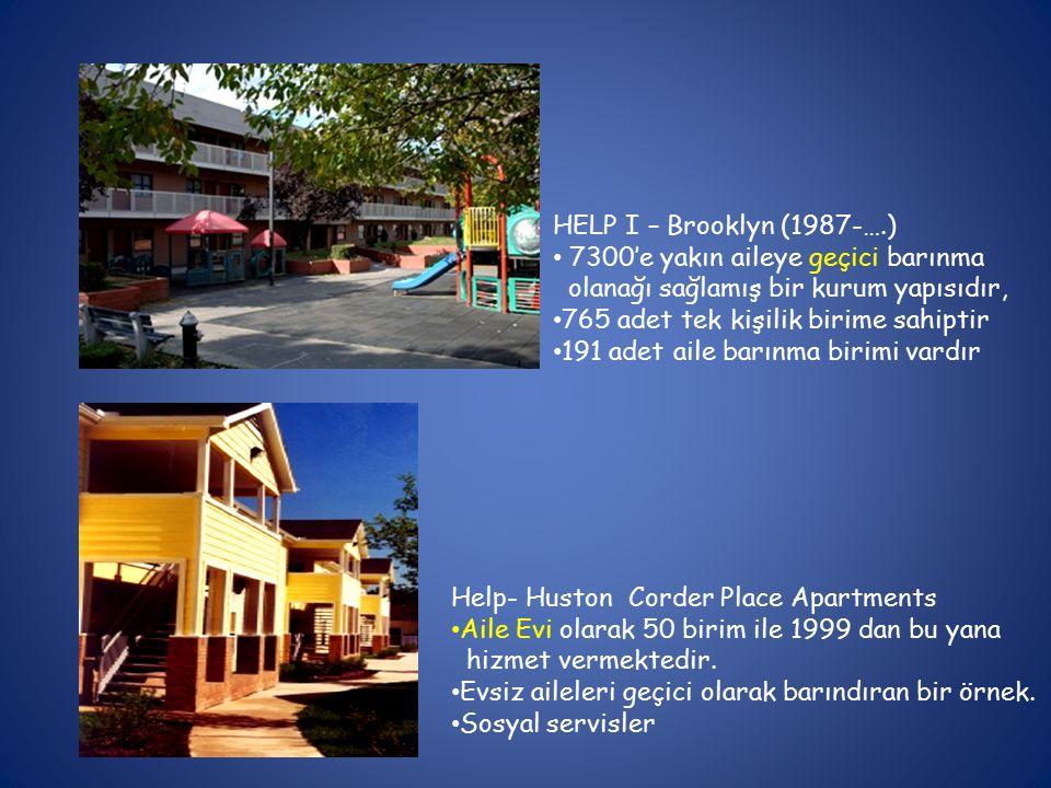 HELP I – Brooklyn (1987-….) 7300'e yakın aileye geçici barınma. olanağı sağlamış bir kurum yapısıdır,