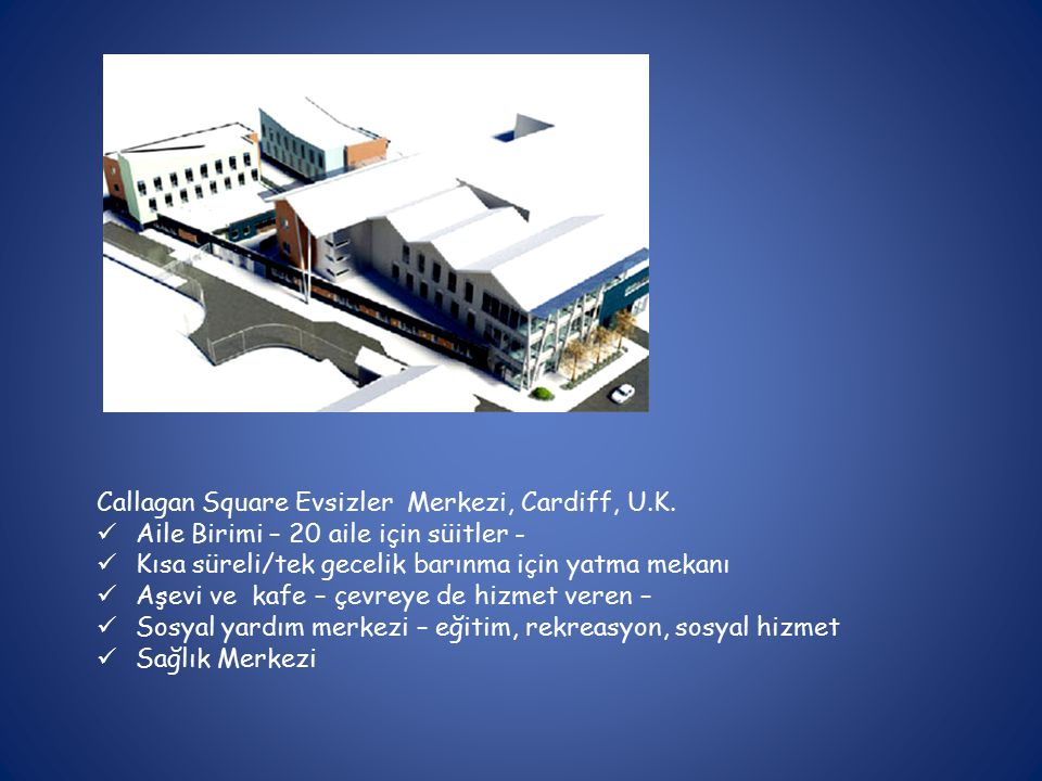 Callagan Square Evsizler Merkezi, Cardiff, U.K.