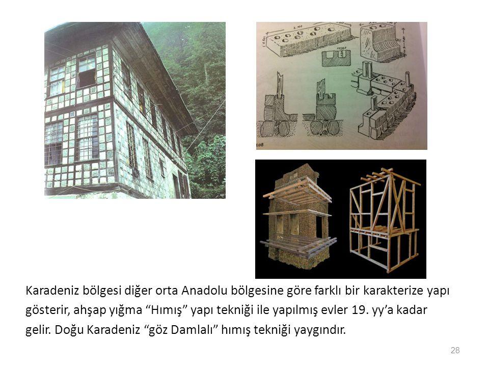 Karadeniz bölgesi diğer orta Anadolu bölgesine göre farklı bir karakterize yapı gösterir, ahşap yığma Hımış yapı tekniği ile yapılmış evler 19.
