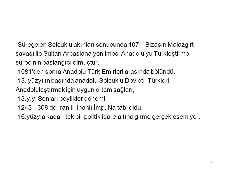 -Süregelen Selcuklu akınları sonucunda 1071' Bizasın Malazgirt