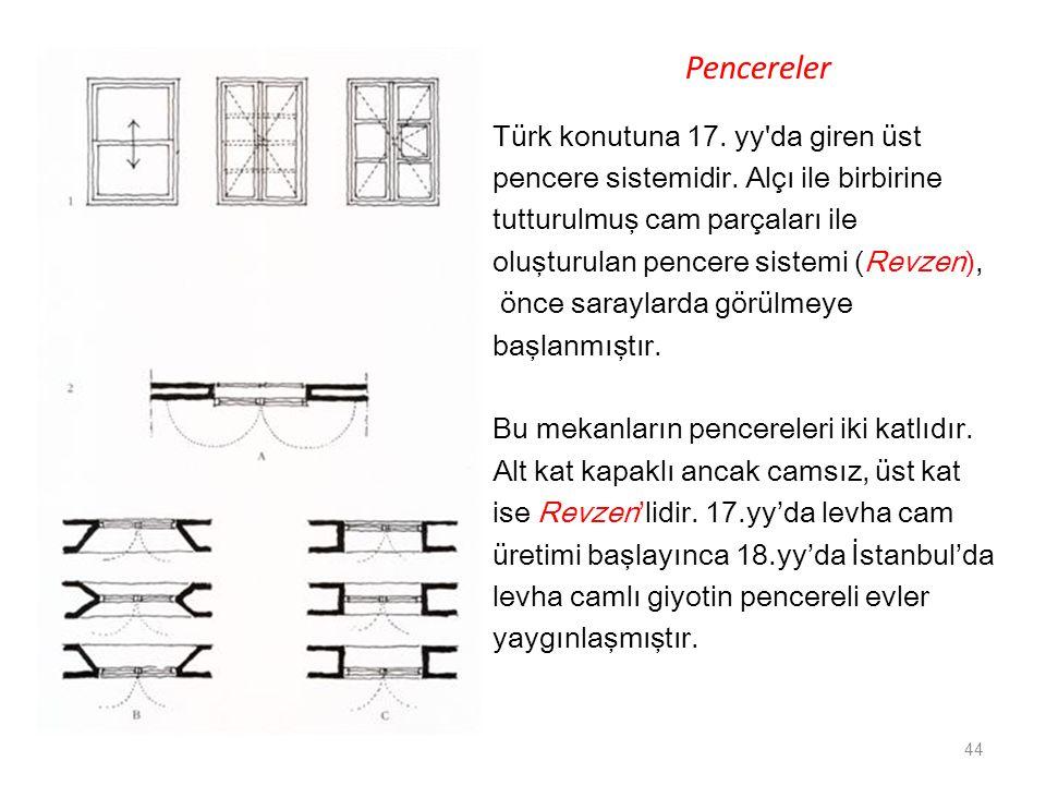 Pencereler Türk konutuna 17. yy da giren üst