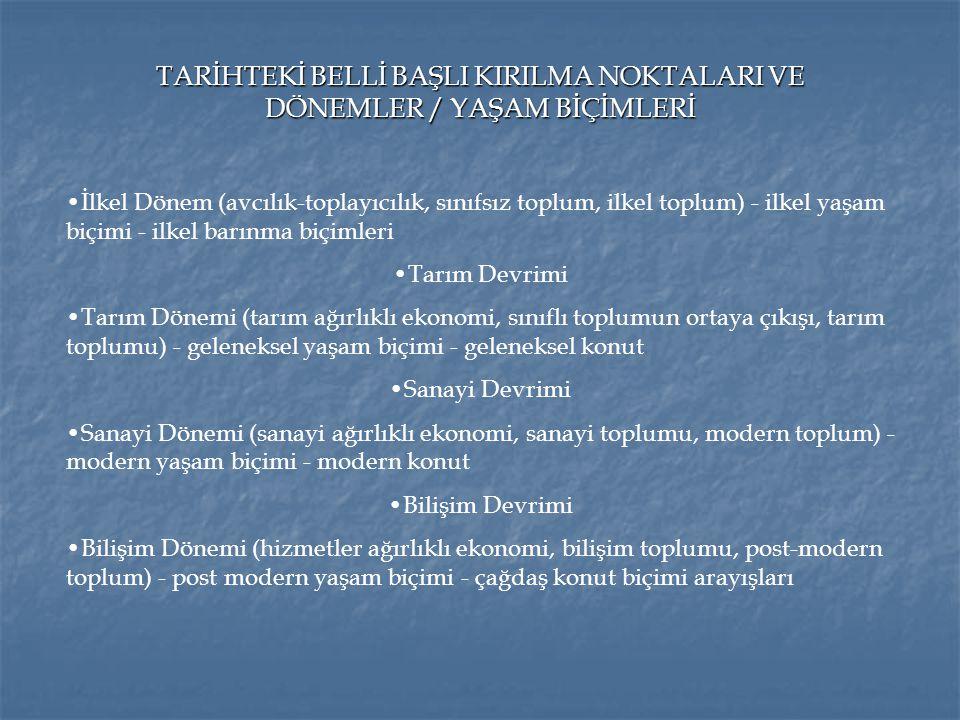 TARİHTEKİ BELLİ BAŞLI KIRILMA NOKTALARI VE DÖNEMLER / YAŞAM BİÇİMLERİ