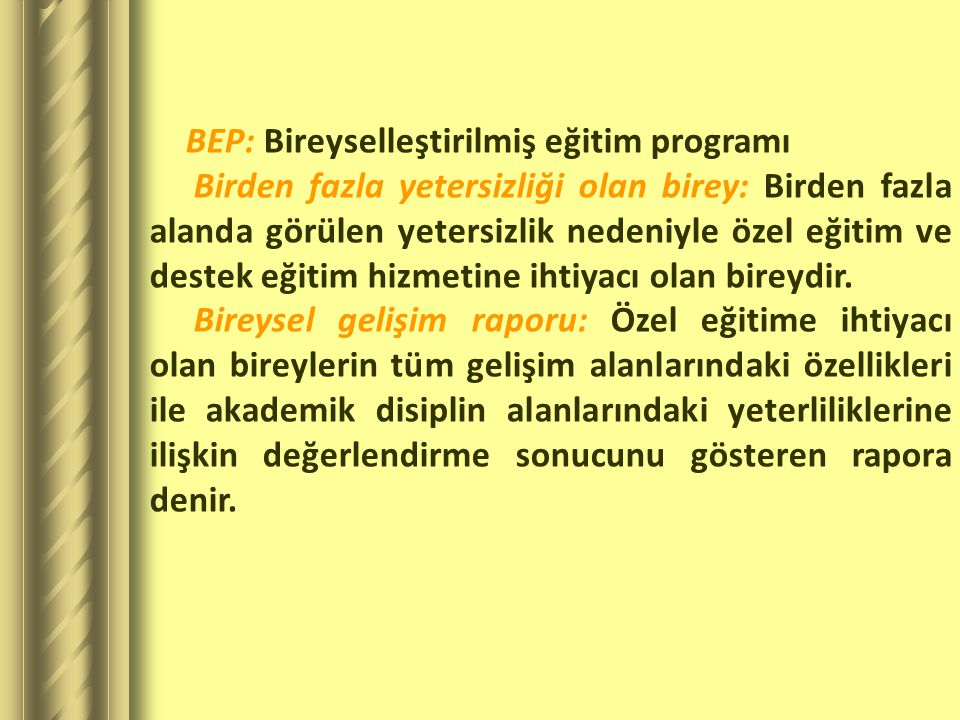 BEP: Bireyselleştirilmiş eğitim programı
