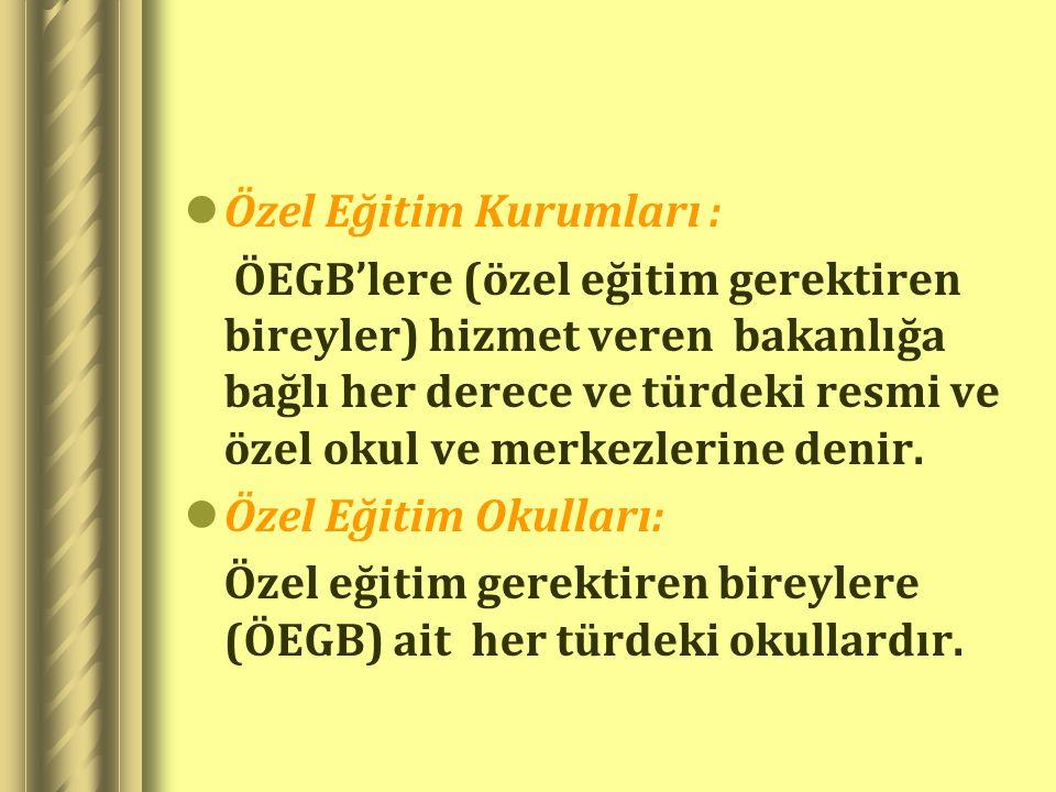 Özel Eğitim Kurumları :