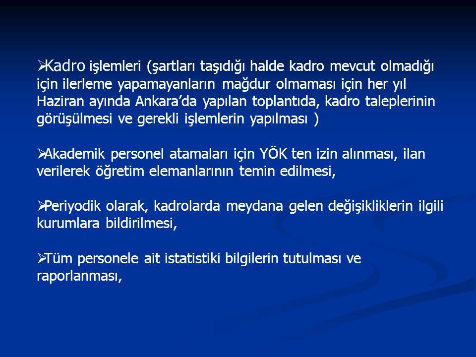 Kadro işlemleri (şartları taşıdığı halde kadro mevcut olmadığı için ilerleme yapamayanların mağdur olmaması için her yıl Haziran ayında Ankara'da yapılan toplantıda, kadro taleplerinin görüşülmesi ve gerekli işlemlerin yapılması )