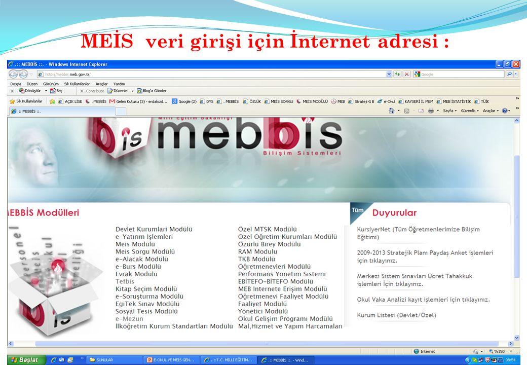 MEİS veri girişi için İnternet adresi :