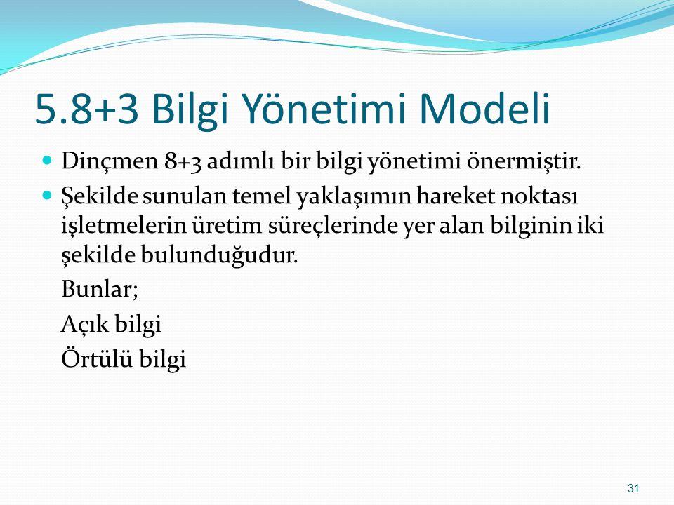 5.8+3 Bilgi Yönetimi Modeli