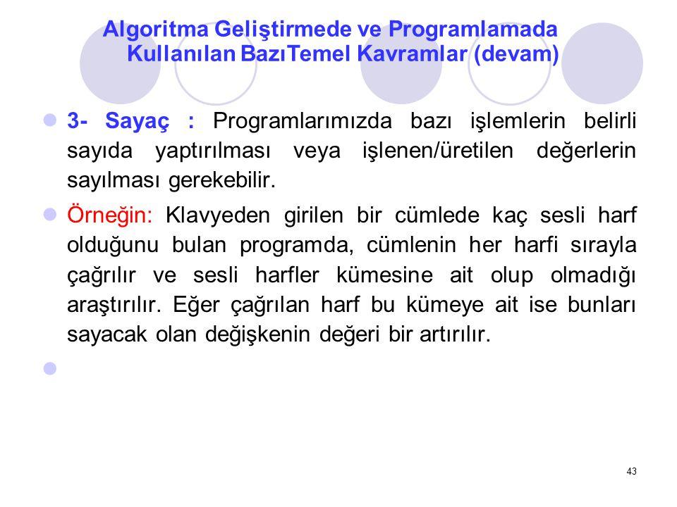Algoritma Geliştirmede ve Programlamada Kullanılan BazıTemel Kavramlar (devam)