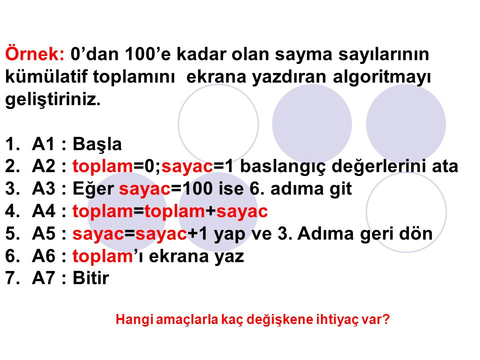 A2 : toplam=0;sayac=1 baslangıç değerlerini ata