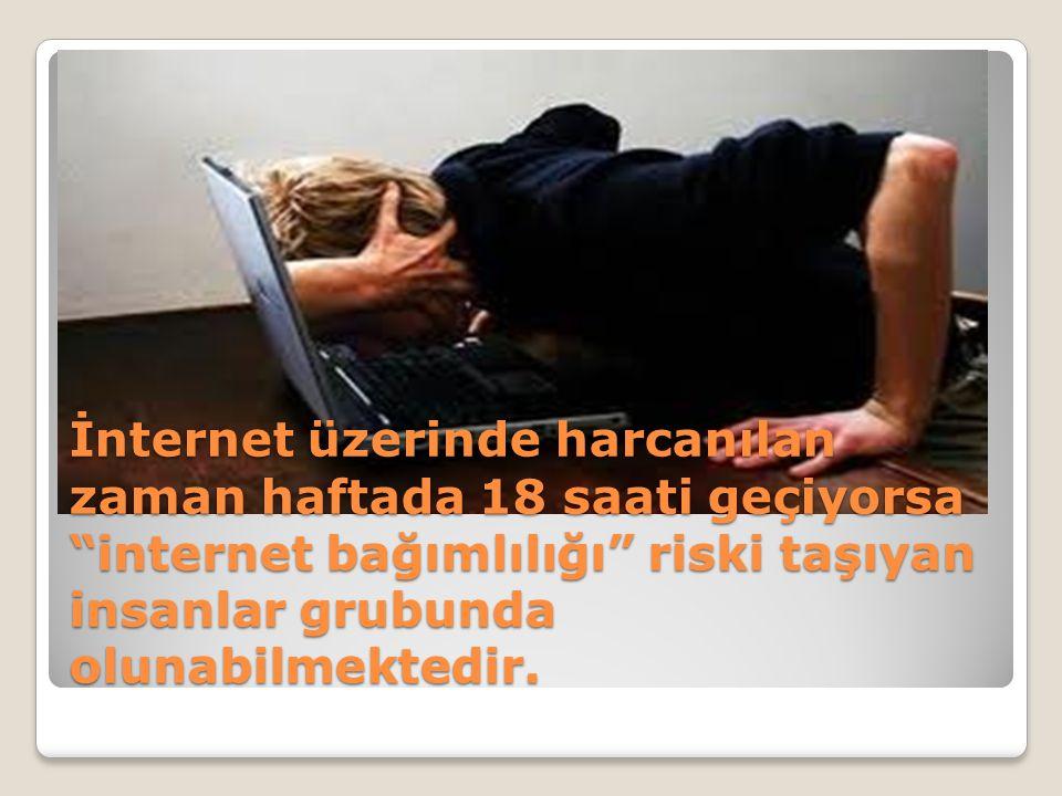 İnternet üzerinde harcanılan zaman haftada 18 saati geçiyorsa internet bağımlılığı riski taşıyan insanlar grubunda olunabilmektedir.