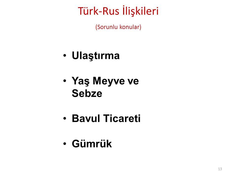 Türk-Rus İlişkileri (Sorunlu konular)