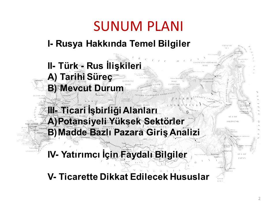 SUNUM PLANI I- Rusya Hakkında Temel Bilgiler II- Türk - Rus İlişkileri