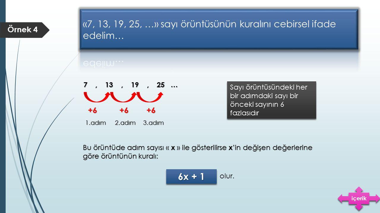 «7, 13, 19, 25, …» sayı örüntüsünün kuralını cebirsel ifade edelim…