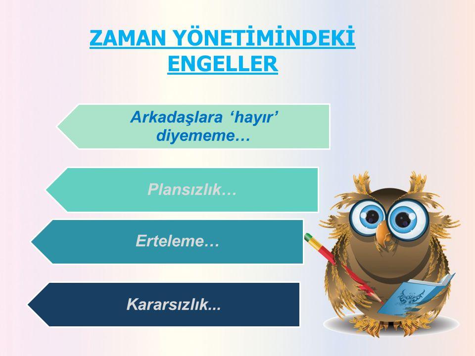 ZAMAN YÖNETİMİNDEKİ ENGELLER