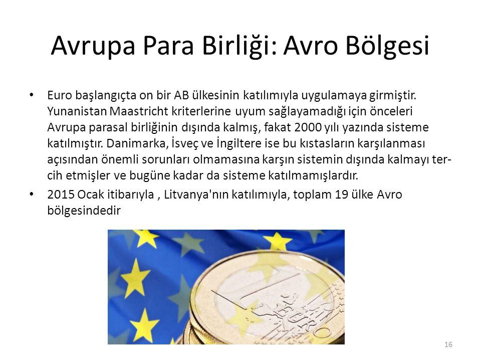 Avrupa Para Birliği: Avro Bölgesi