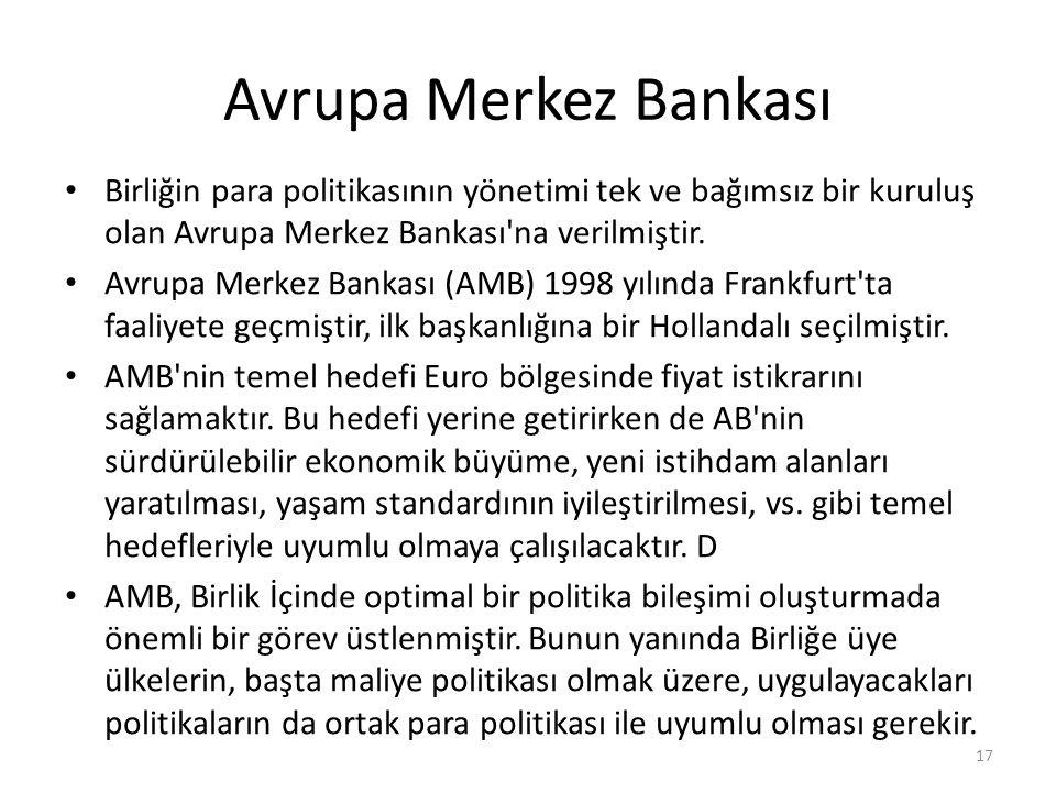 Avrupa Merkez Bankası Birliğin para politikasının yönetimi tek ve bağımsız bir kuruluş olan Avrupa Merkez Bankası na verilmiştir.