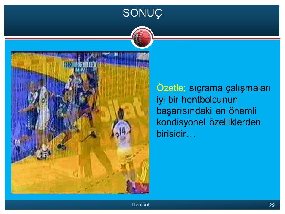 SONUÇ Özetle; sıçrama çalışmaları iyi bir hentbolcunun başarısındaki en önemli kondisyonel özelliklerden birisidir…