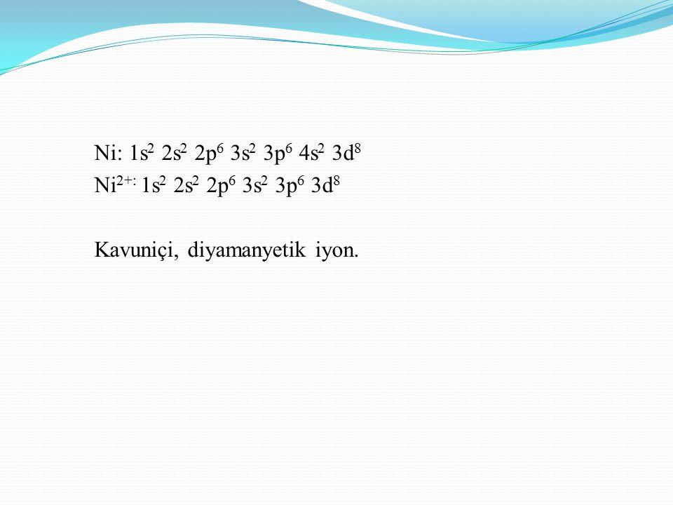 Ni: 1s2 2s2 2p6 3s2 3p6 4s2 3d8 Ni2+: 1s2 2s2 2p6 3s2 3p6 3d8 Kavuniçi, diyamanyetik iyon.