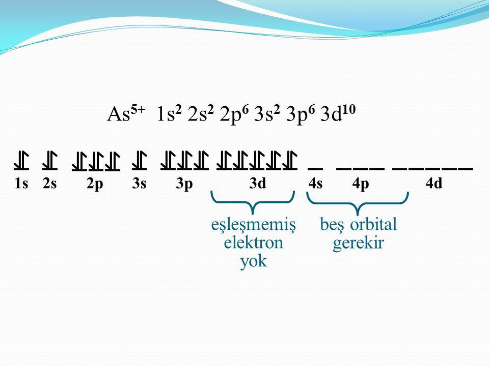 As5+ 1s2 2s2 2p6 3s2 3p6 3d10 eşleşmemiş elektron yok beş orbital