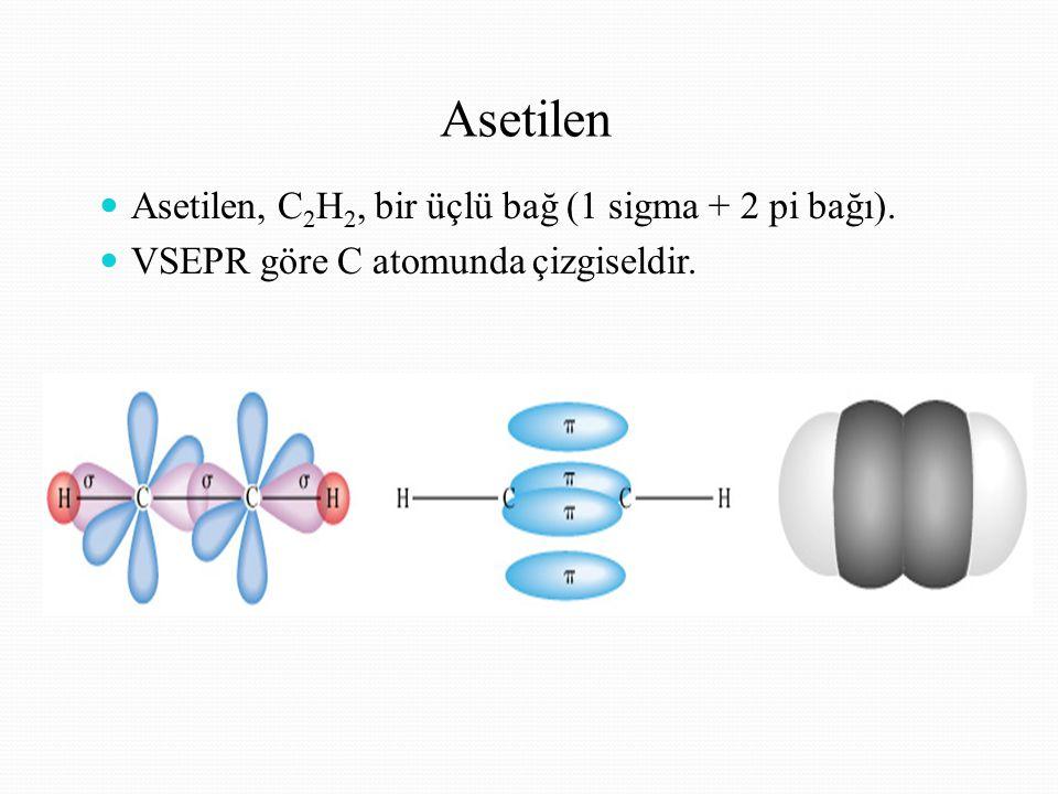 Asetilen Asetilen, C2H2, bir üçlü bağ (1 sigma + 2 pi bağı).