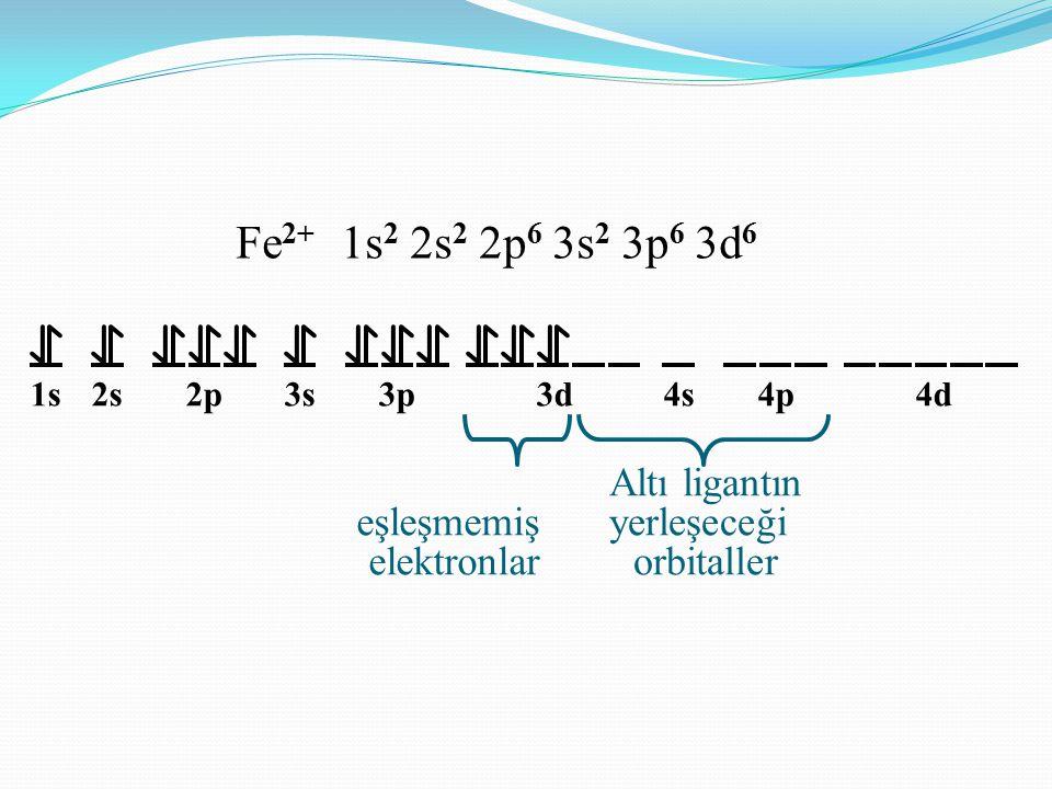 Fe2+ 1s2 2s2 2p6 3s2 3p6 3d6 eşleşmemiş elektronlar Altı ligantın