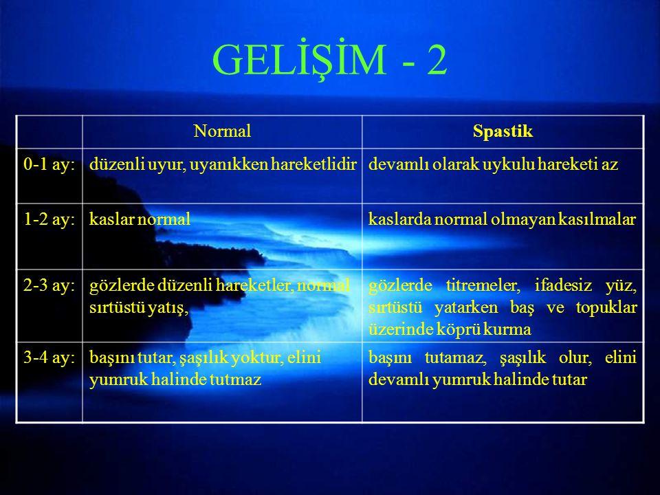 GELİŞİM - 2 Normal Spastik 0-1 ay: