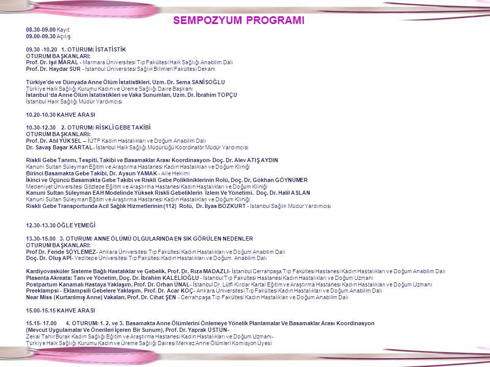 SEMPOZYUM PROGRAMI 08.30-09.00 Kayıt 09.00-09.30 Açılış