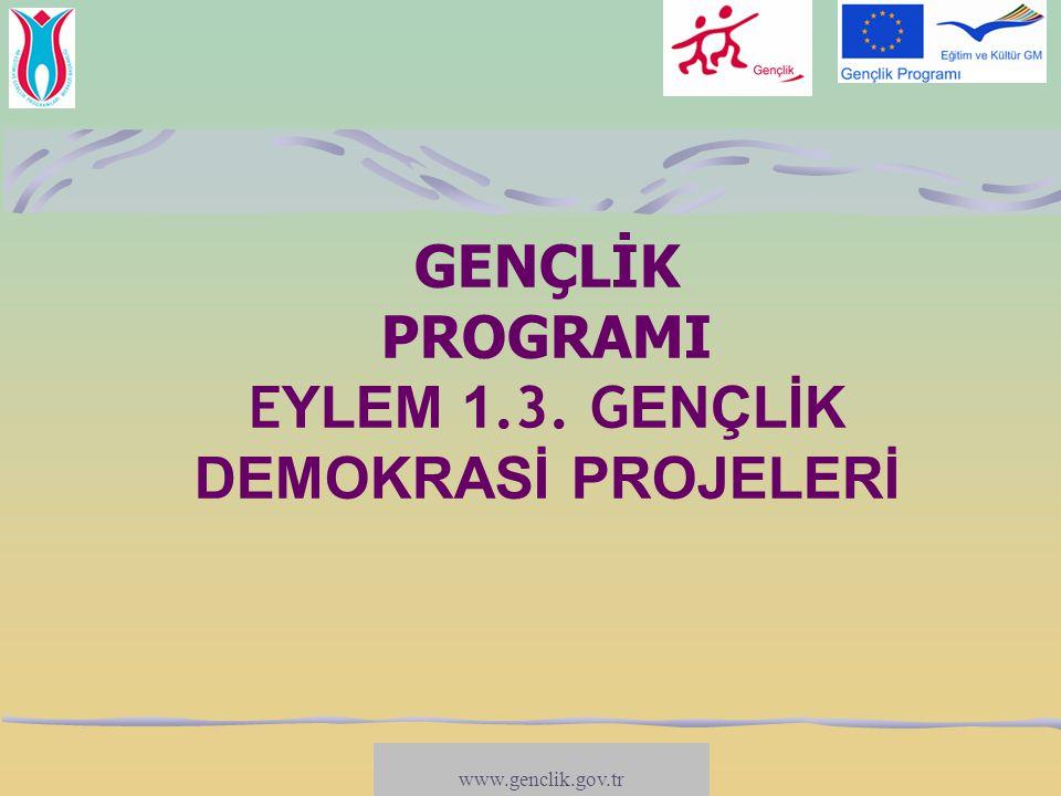 GENÇLİK PROGRAMI EYLEM 1.3. GENÇLİK DEMOKRASİ PROJELERİ
