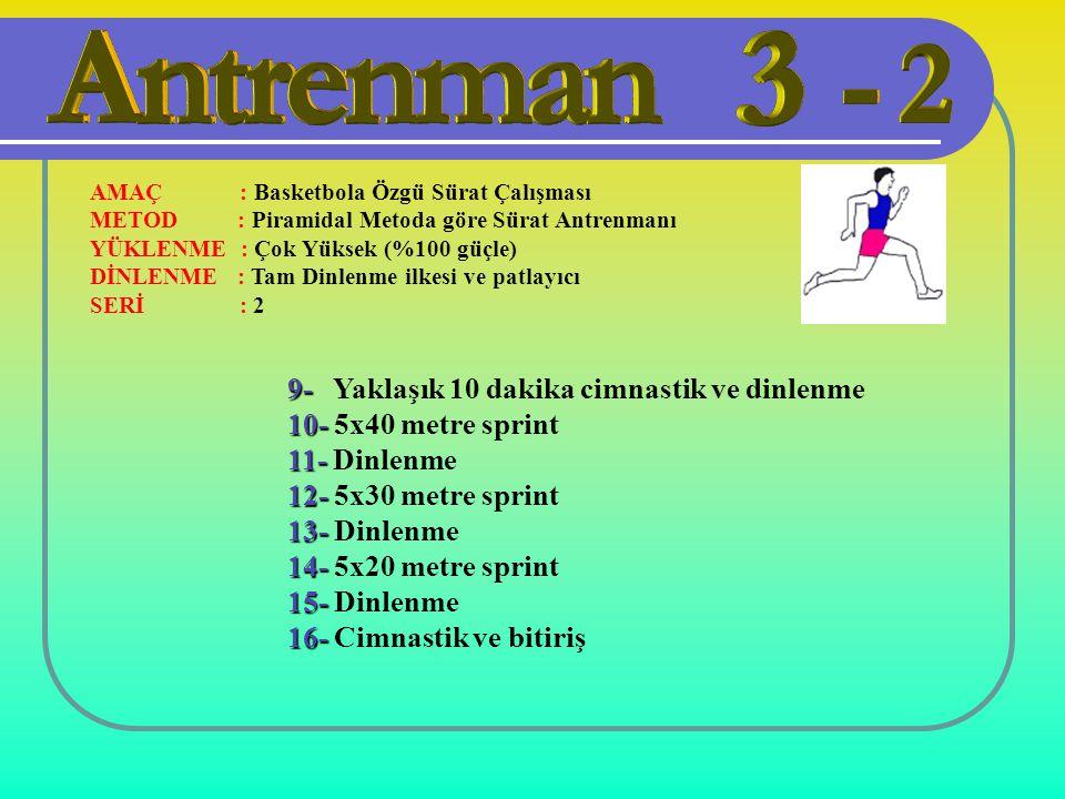 9- Yaklaşık 10 dakika cimnastik ve dinlenme 10- 5x40 metre sprint
