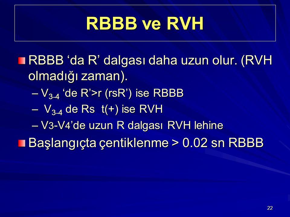 RBBB ve RVH RBBB 'da R' dalgası daha uzun olur. (RVH olmadığı zaman).