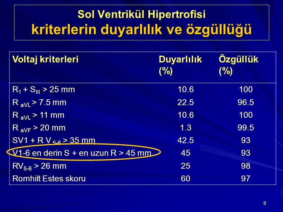 Sol Ventrikül Hipertrofisi kriterlerin duyarlılık ve özgüllüğü