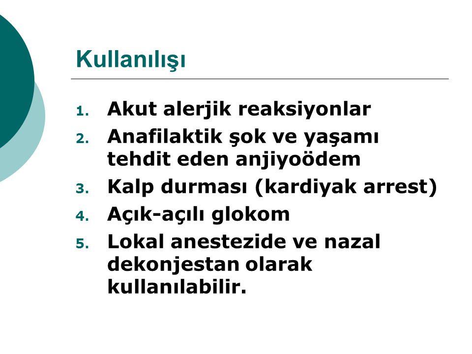 Kullanılışı Akut alerjik reaksiyonlar
