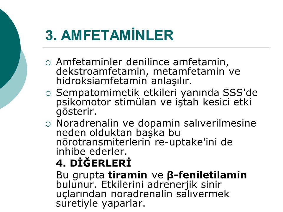 3. AMFETAMİNLER Amfetaminler denilince amfetamin, dekstroamfetamin, metamfetamin ve hidroksiamfetamin anlaşılır.