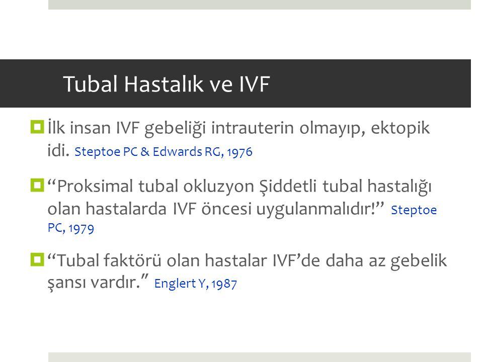 Tubal Hastalık ve IVF İlk insan IVF gebeliği intrauterin olmayıp, ektopik idi. Steptoe PC & Edwards RG, 1976.
