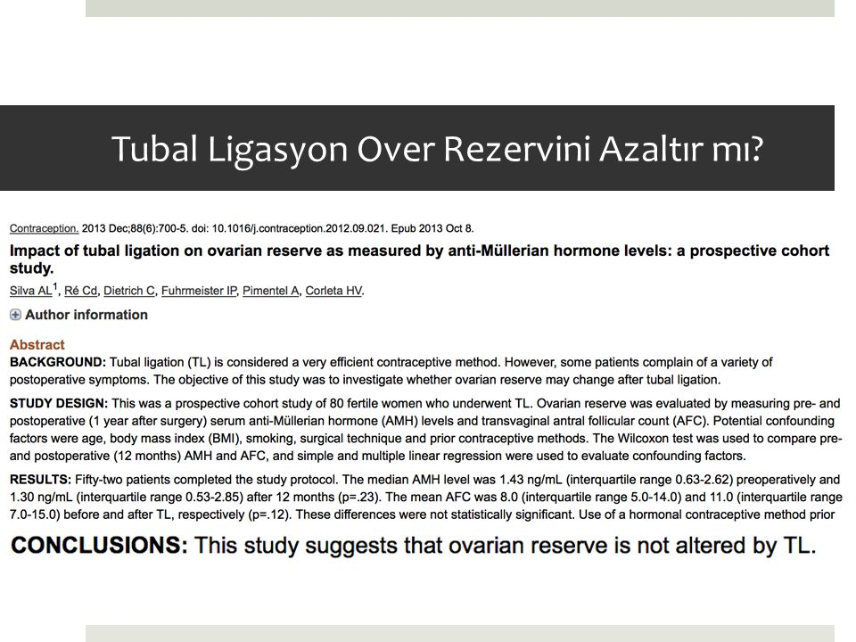Tubal Ligasyon Over Rezervini Azaltır mı