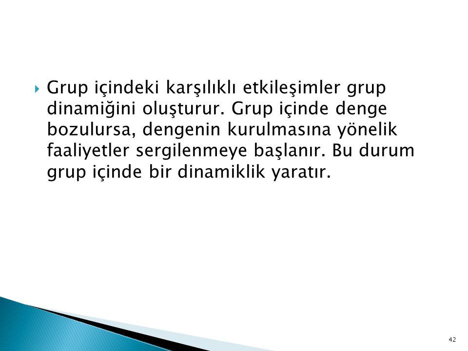 Grup içindeki karşılıklı etkileşimler grup dinamiğini oluşturur