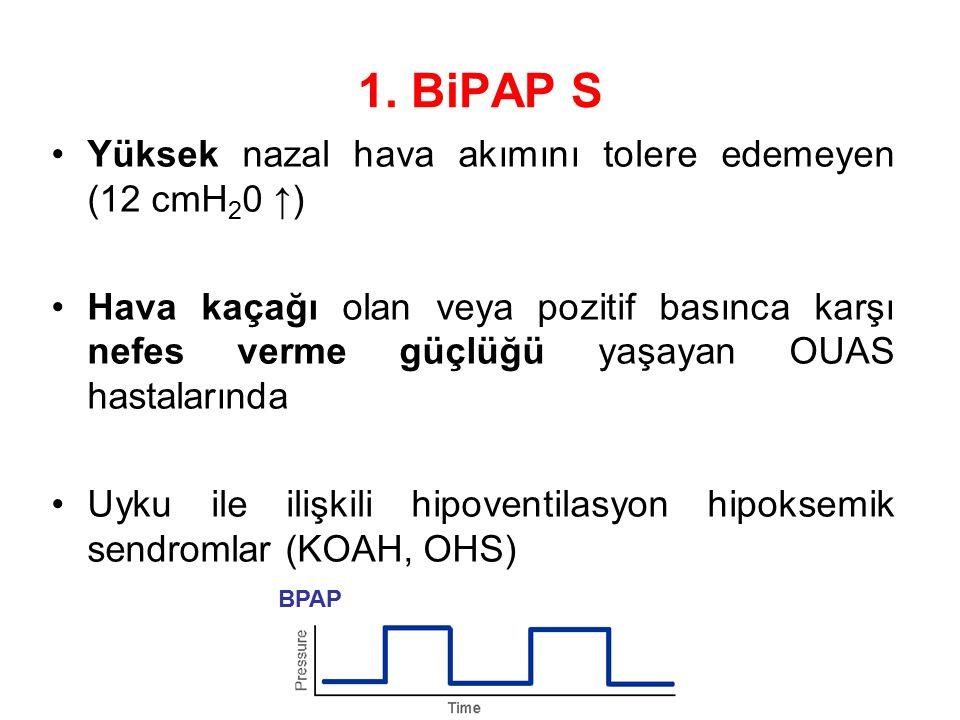 1. BiPAP S Yüksek nazal hava akımını tolere edemeyen (12 cmH20 ↑)