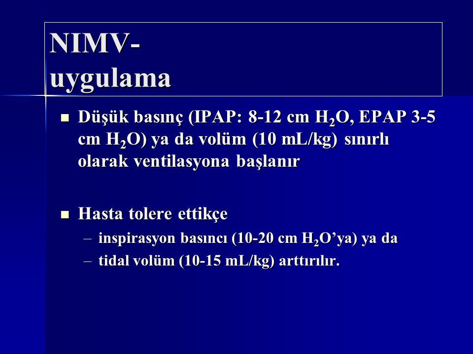 NIMV- uygulama Düşük basınç (IPAP: 8-12 cm H2O, EPAP 3-5 cm H2O) ya da volüm (10 mL/kg) sınırlı olarak ventilasyona başlanır.
